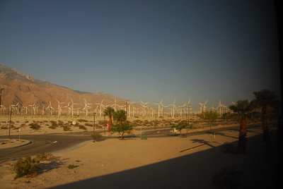 Shot of the windmills in Palm Springs from the Amtrak in California