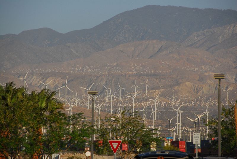 Shot of the Coachella Valley behind the windmills in Palm Springs, California