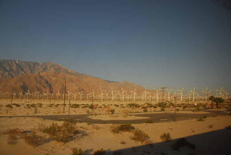 The windmills in Palm Springs via the Amtrak route in California