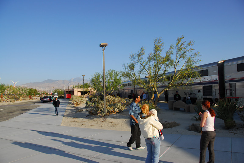 Stopover for the Amtrak train near Palm Springs windmills