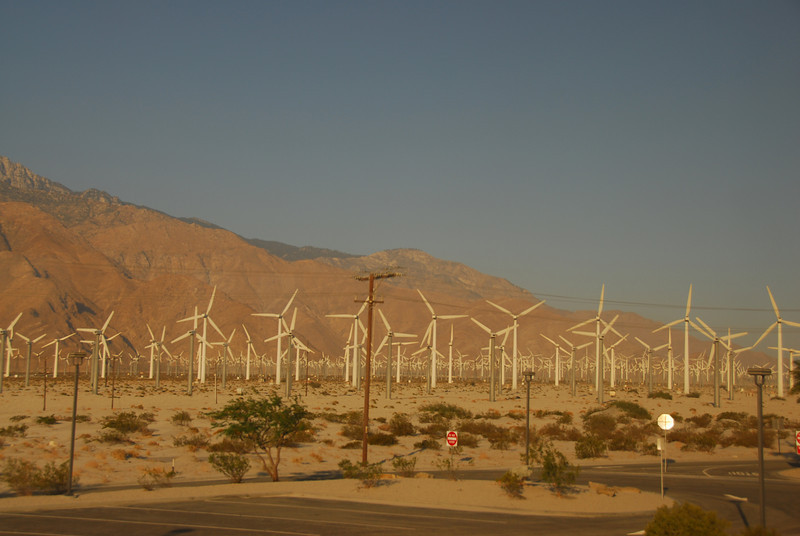 Details of the windmills in Palm Springs along the Amtrak route in California