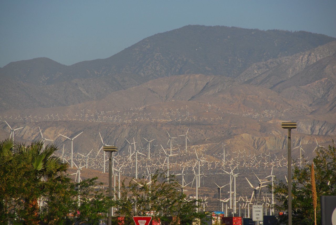 View of the windmills near Coachella Valley in Palm Springs along Amtrak route