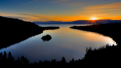Lake Tahoe, sunrise over Emerald Bay