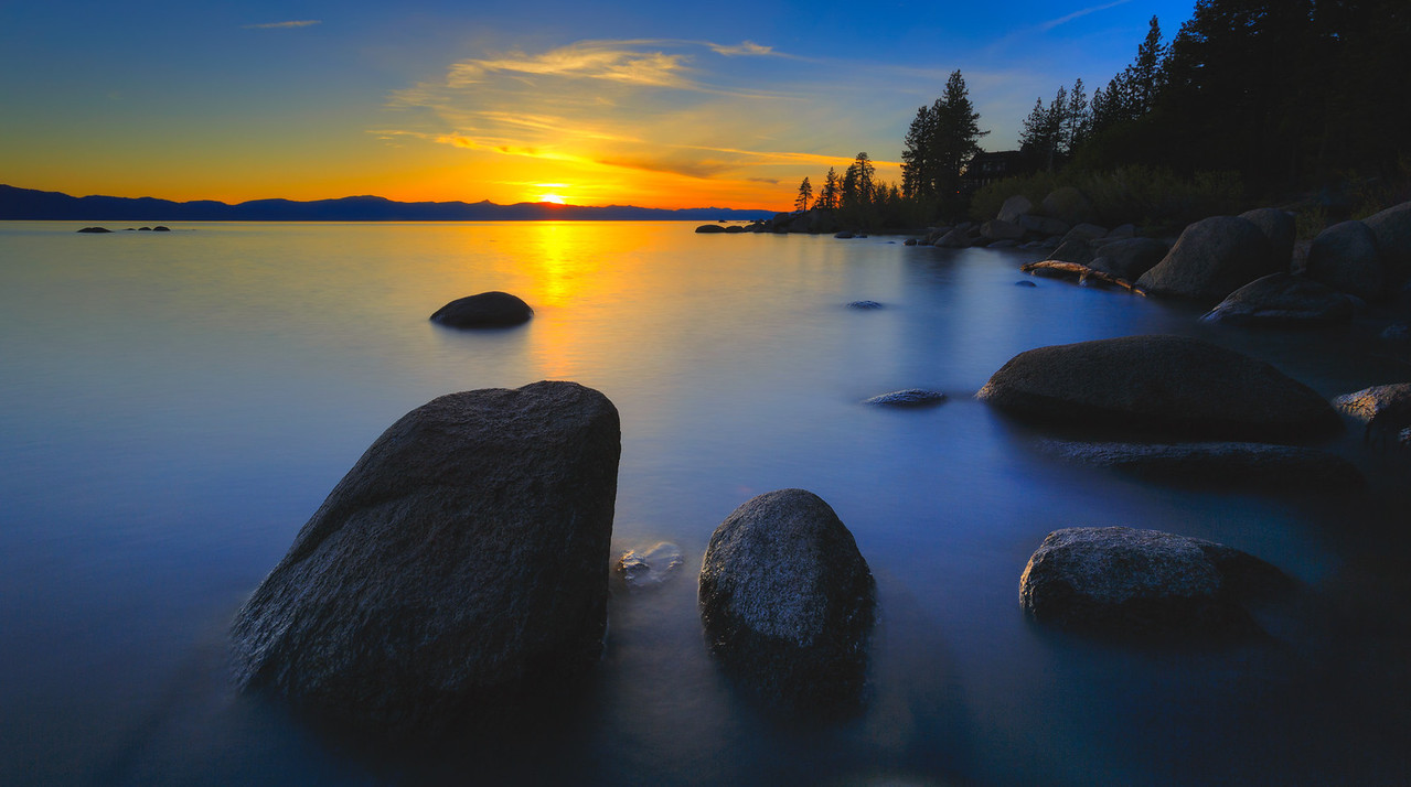 Lake Tahoe, sunset over Zephry Cove