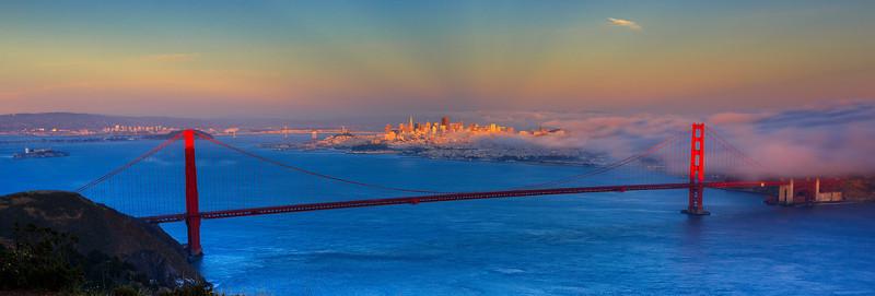 Sunset over Golden Gate Bridge