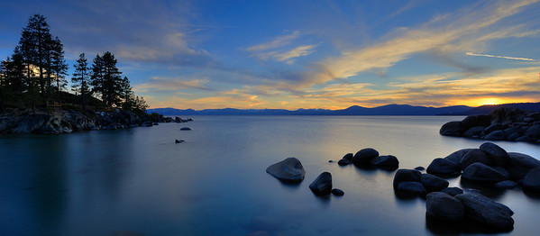 Lake Tahoe, sunset over Sand Harbor