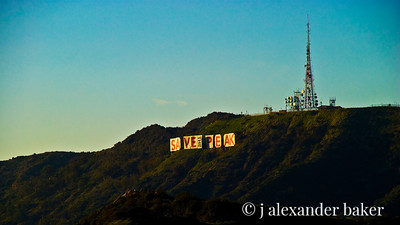 Protest on Hollywood Sign