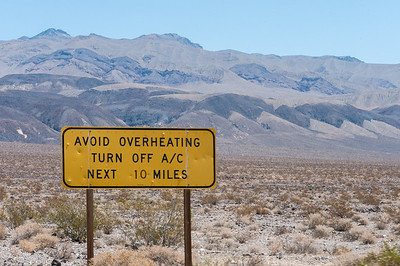Road sign along the Road to Death Valley