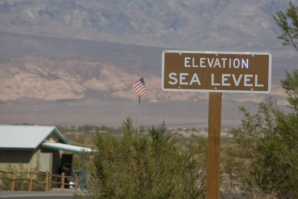 Sea level sign in Death Valley National Park, California