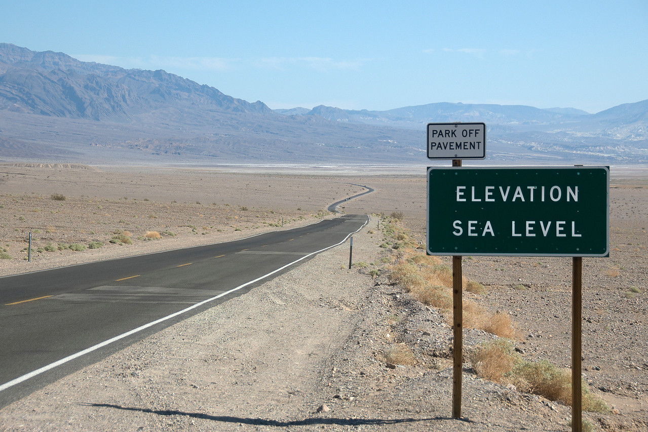 Roadside signs at Death Valley in California
