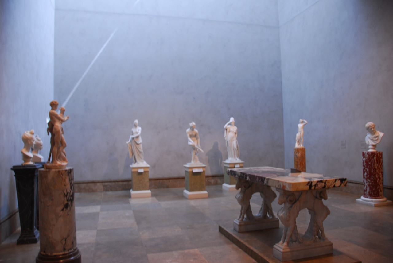 Room filled with art sculptures in Getty Museum, California