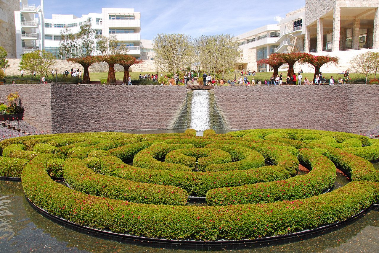 View of the Getty Museum from the Central Garden