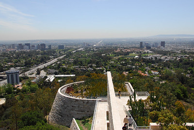 Overlooking view of the Los Angeles skyline from the Getty Center's Cactus Garden