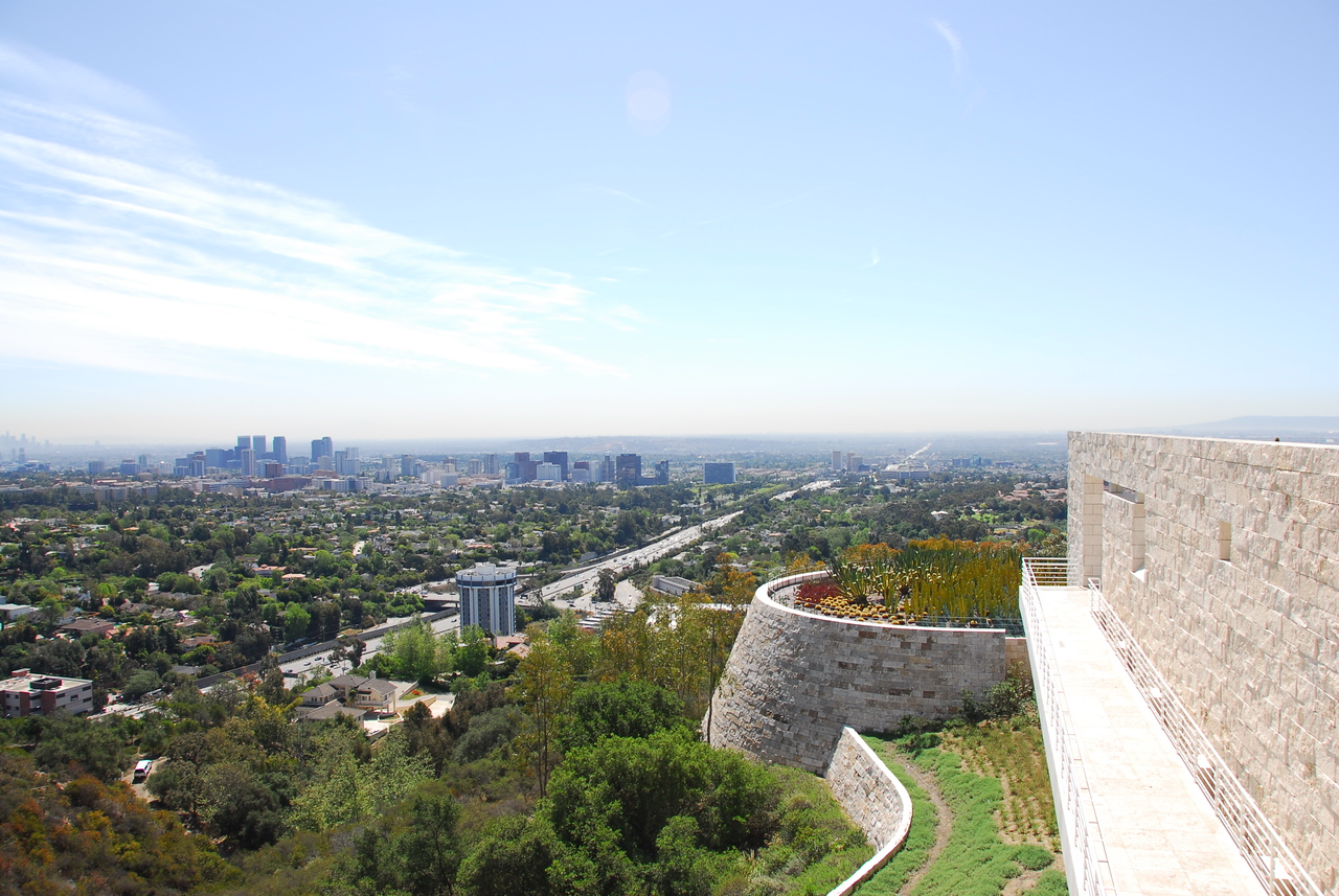 Aerial view of Los Angeles skyline from the Cactus Garden in Getty Center