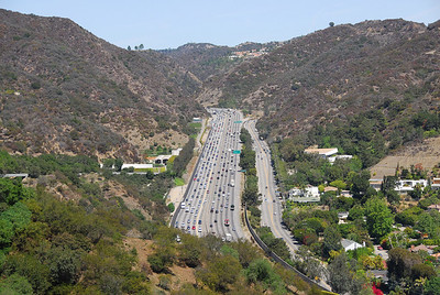Aerial view of the expressway from the J. Paul Getty Museum in California
