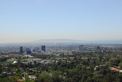 Overlooking view of Los Angeles from J. Paul Getty Museum in California