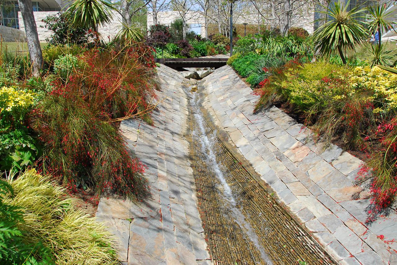 The Getty Center garden stream in Brentwood, California