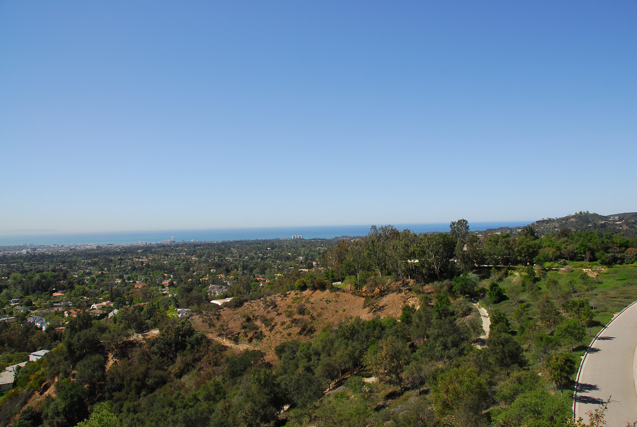 Overlooking view of Los Angeles from the J. Paul Getty Museum in California