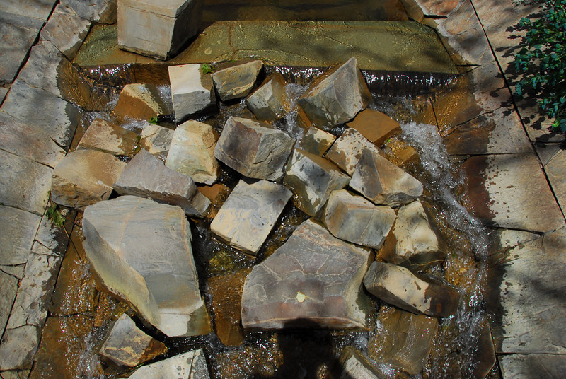 Pile of rocks at the Getty Center garden stream in California