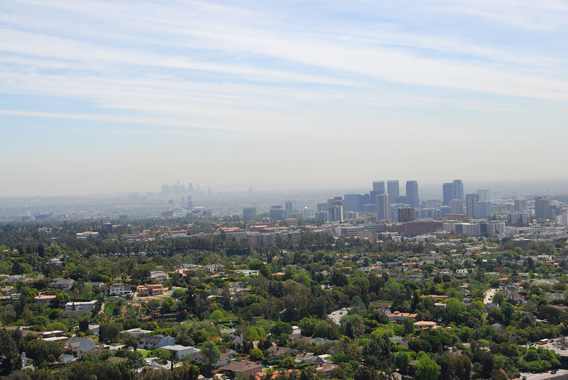Overlooking view of the Los Angeles skyline from J. Paul Getty Museum in California