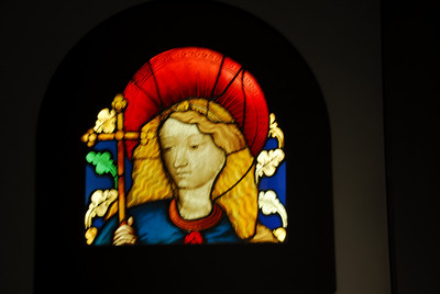 Stained glass portrait of Mary at the Getty Museum in California