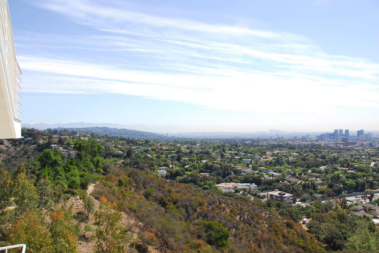 Overlooking view of the Los Angeles skyline from Getty Center in California