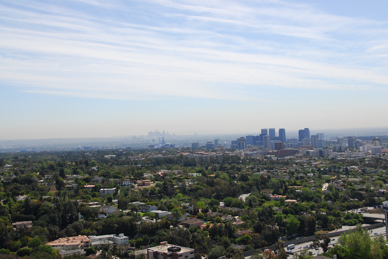 Overlooking view of the Los Angeles skyline from Getty Museum in California
