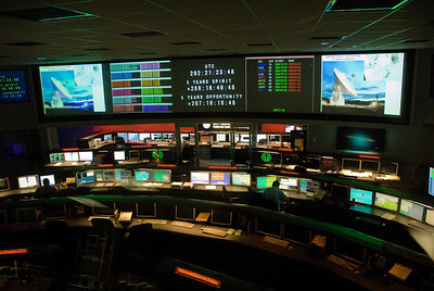 The control room in Jet Propulsion Laboratory in California