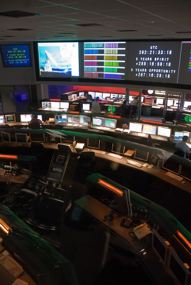 The control room in Jet Propulsion Laboratory, California