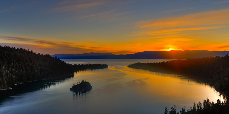Lake Tahoe, sunrise over Emerald Bay