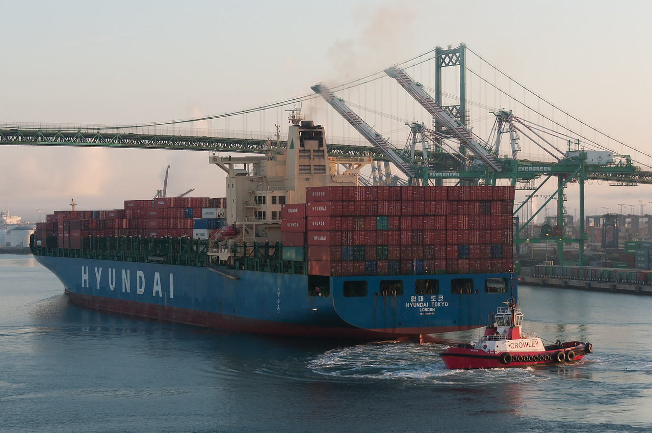 A vessel travels through the Port of Long Beach in California