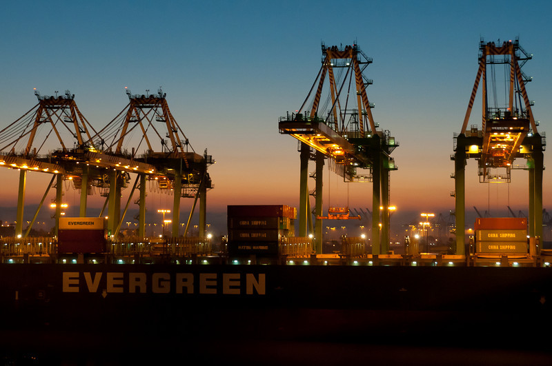 Long Beach container port at night - California