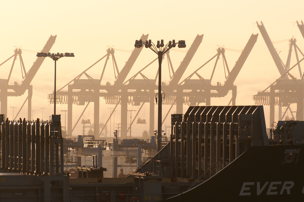 Part of Long Beach container port in California