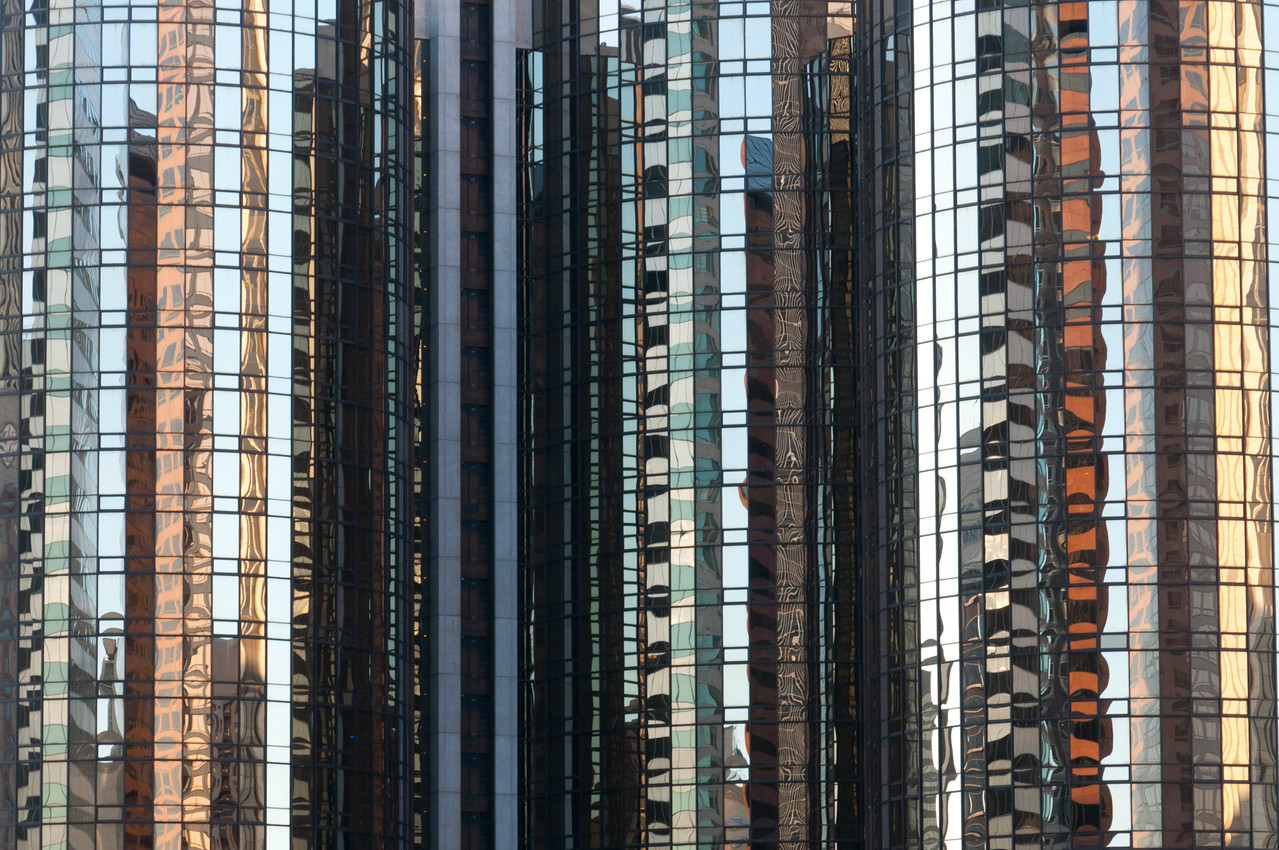 Reflection on a glass high rise building in Los Angeles, California