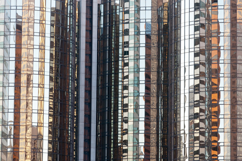 Reflections in a high rise glass building in Los Angeles, California