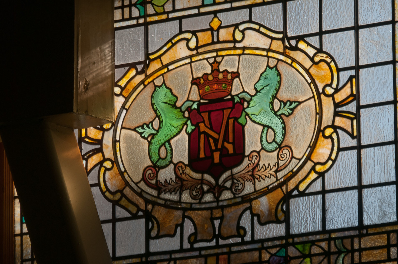 Stained glass window at the Barclay Hotel in Los Angeles, California