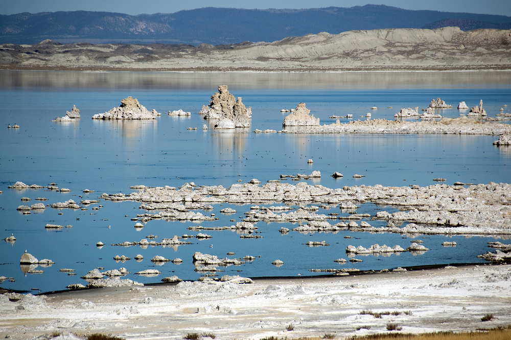 White tufas in Mono Lake, California