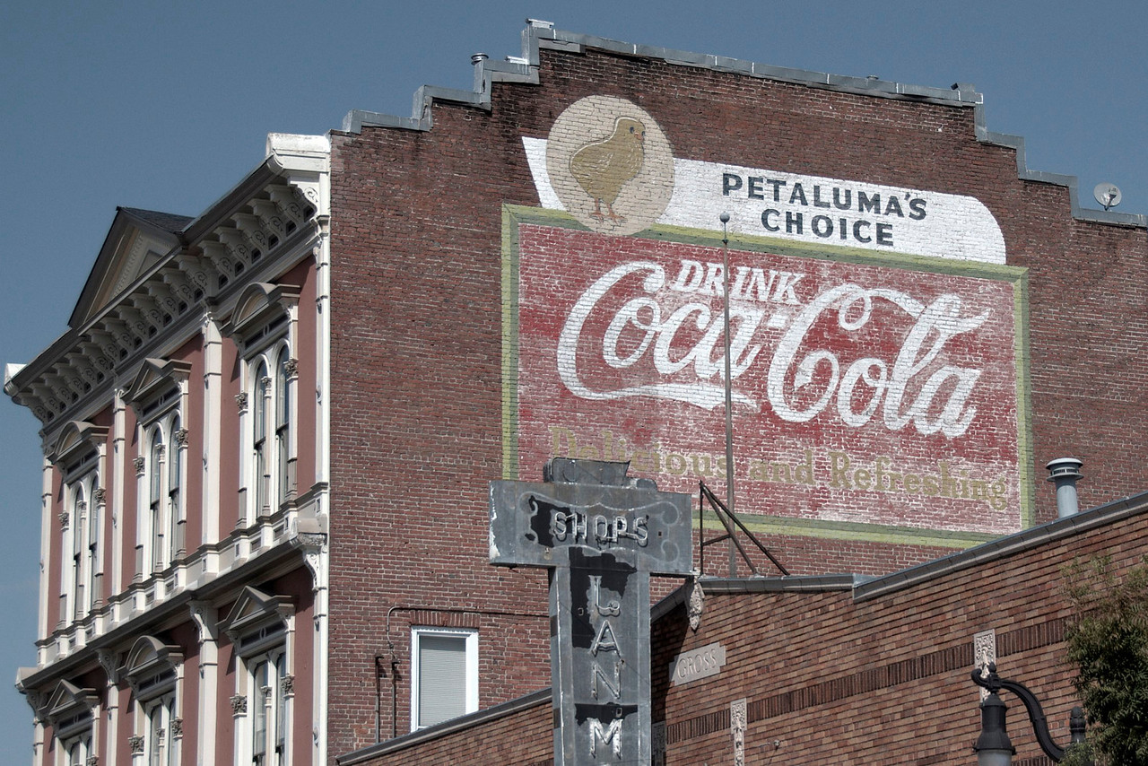 Coca-cola advertisement in Mutual Relief Building in downtown Petaluma, California