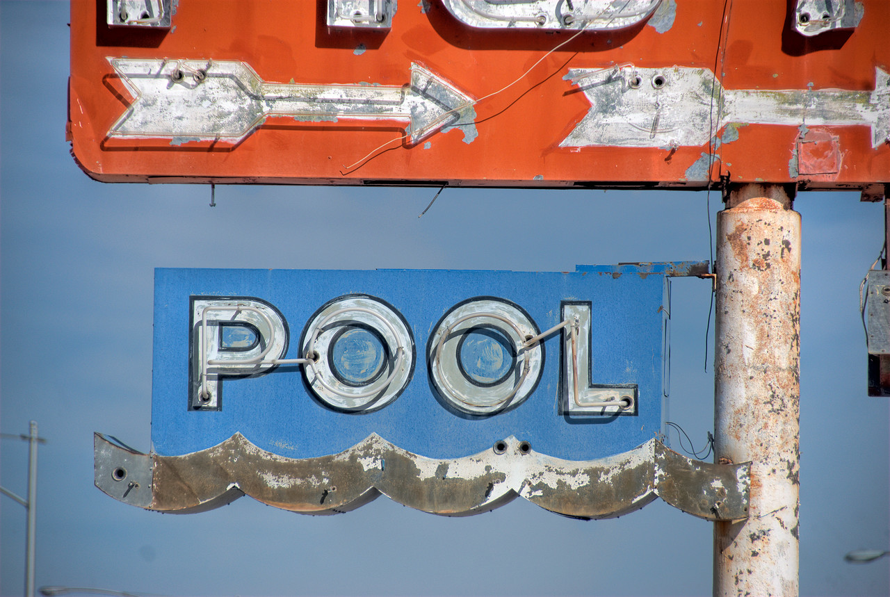 Neon pool sign in Route 66, California