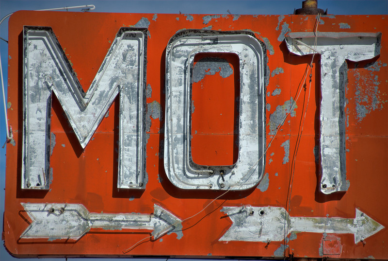 Motel sign in Route 66 in California, USA