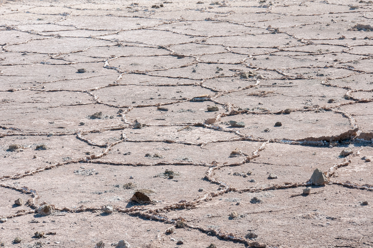 Dry bed of Salton Sea in California