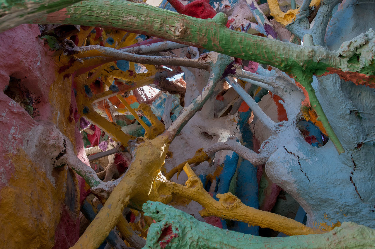 Details of Salvation Mountain art installation in California
