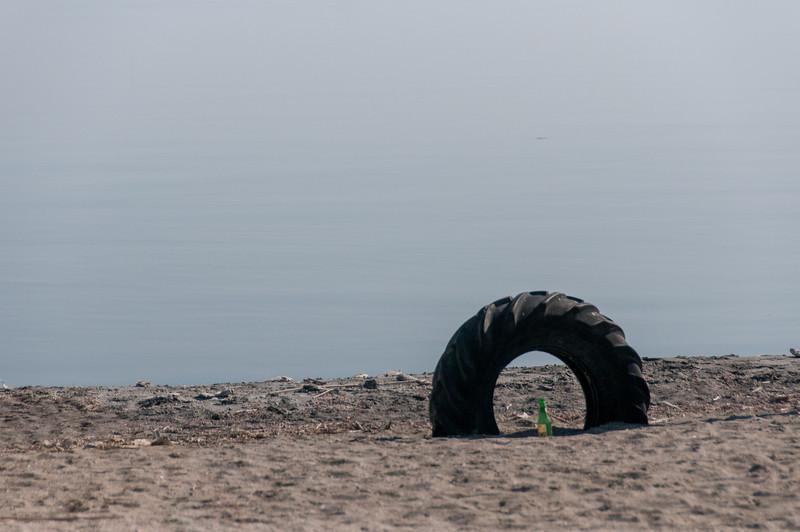 Wheel stuck along the shore of Salton Sea in California