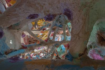 Details of Salvation Mountain art installation in California