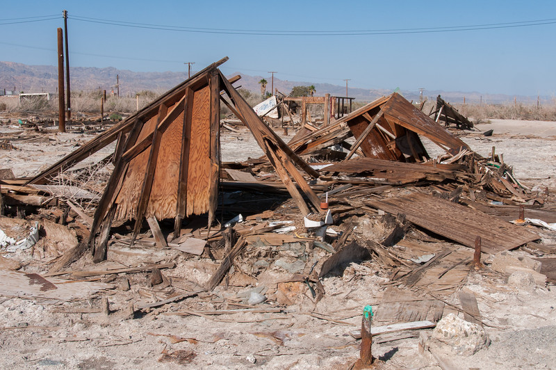 Torn down structure in Salton Sea, California
