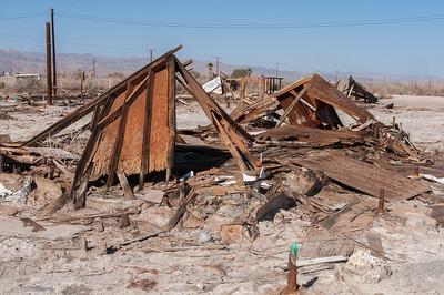 Torn down structure in Salton Sea, California