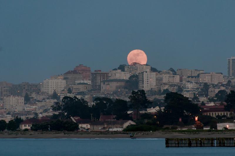 Moon over San Francisco skyline in California