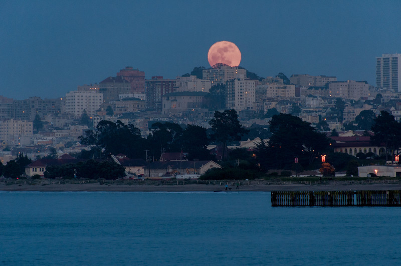 Moon over San Francisco skyline in California