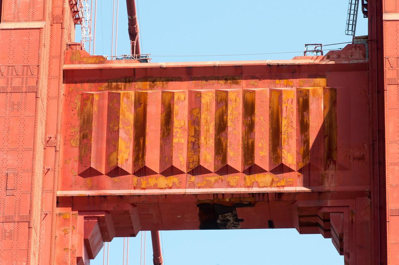 Close-up of Golden Gate Bridge in San Francisco, California