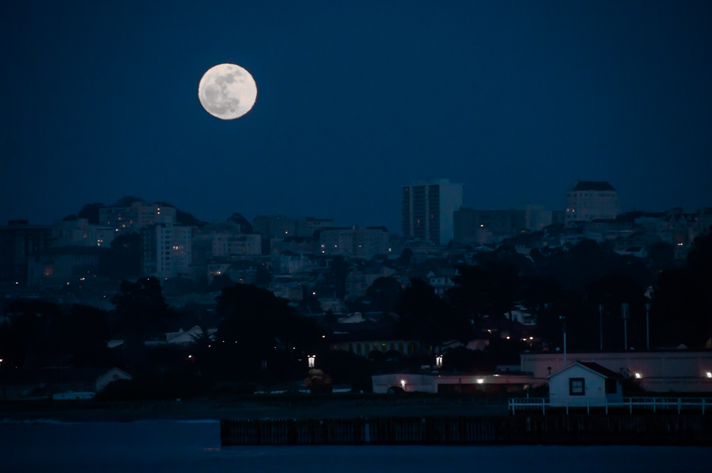 Full Moon over San Francisco, California